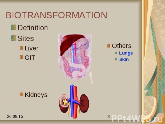 BIOTRANSFORMATION Definition Sites Liver GIT Kidneys
