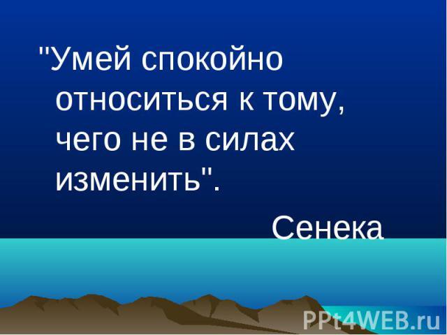 """""""Умей спокойно относиться к тому, чего не в силах изменить"""". """"Умей спокойно относиться к тому, чего не в силах изменить"""". Сенека"""