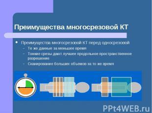 Преимущества многосрезовой КТ Преимущества многосрезовой КТ перед односрезовой Т