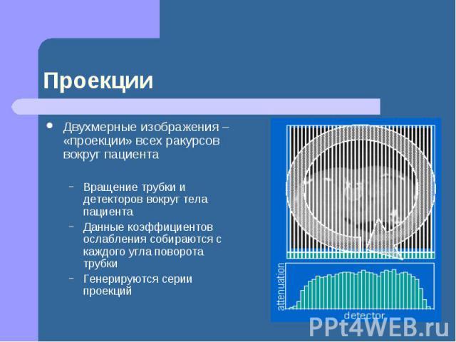 Проекции Двухмерные изображения – «проекции» всех ракурсов вокруг пациента Вращение трубки и детекторов вокруг тела пациента Данные коэффициентов ослабления собираются с каждого угла поворота трубки Генерируются серии проекций