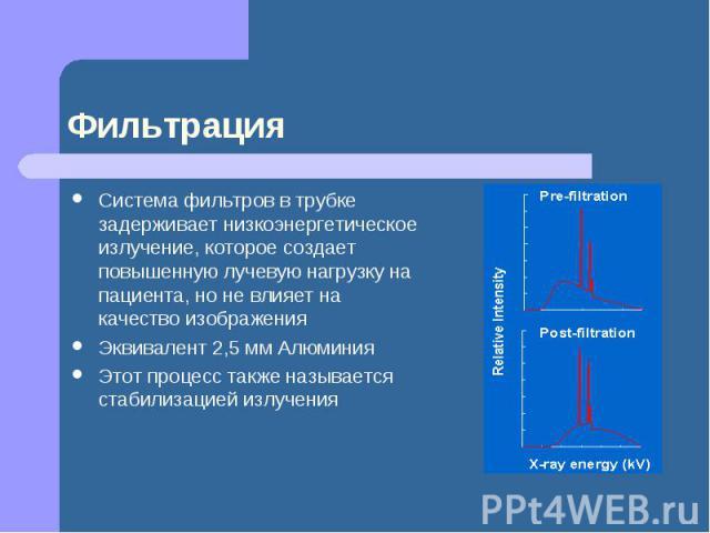 Фильтрация Система фильтров в трубке задерживает низкоэнергетическое излучение, которое создает повышенную лучевую нагрузку на пациента, но не влияет на качество изображения Эквивалент 2,5 мм Алюминия Этот процесс также называется стабилизацией излучения