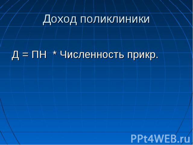 Доход поликлиники Д = ПН * Численность прикр.