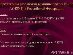 Перспективы разработки вакцины против гриппа А(H5N1) в Российской Федерации Осно
