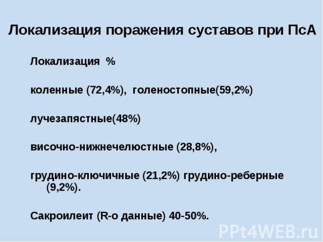 Локализация поражения суставов при ПсА Локализация % коленные (72,4%), голеностопные(59,2%) лучезапястные(48%) височно-нижнечелюстные (28,8%), грудино-ключичные (21,2%) грудино-реберные (9,2%). Сакроилеит (R-o данные) 40-50%.