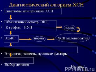 Диагностический алгоритм ХСН Симптомы или признаки ХСН Объективный осмотр, ЭКГ,