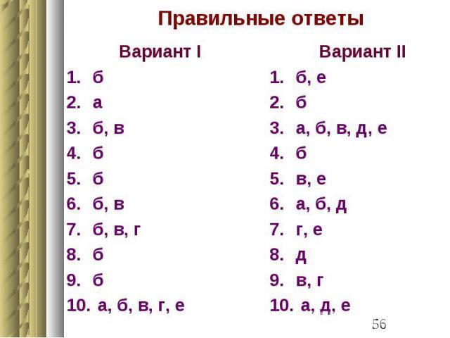 Правильные ответы Вариант I б а б, в б б б, в б, в, г б б а, б, в, г, е
