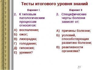 Тесты итогового уровня знаний Вариант I 2. К типовым патологическим процессам от