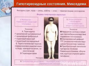 Гипотиреоидные состояния. Микседема