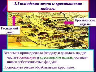 1.Господская земля и крестьянские наделы. К 10 веку всю землю в Европе захватили