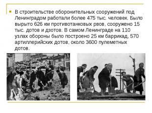 В строительстве оборонительных сооружений под Ленинградом работали более 475 тыс