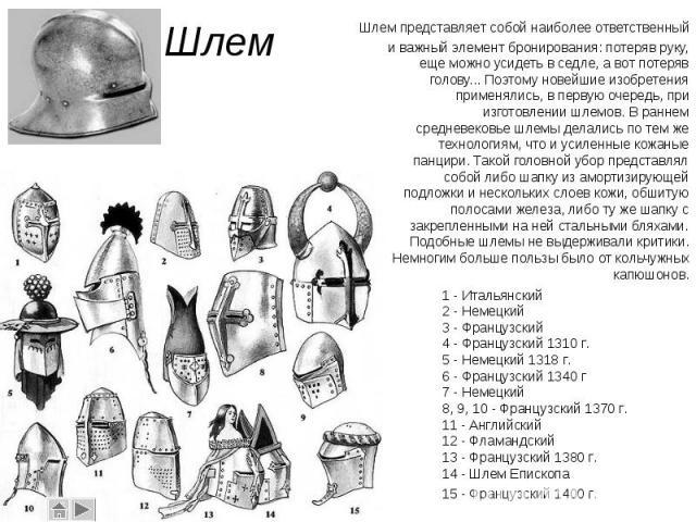 Шлем представляет собой наиболее ответственный и важный элемент бронирования: потеряв руку, еще можно усидеть в седле, а вот потеряв голову... Поэтому новейшие изобретения применялись, в первую очередь, при изготовлении шлемов. В раннем средневековь…