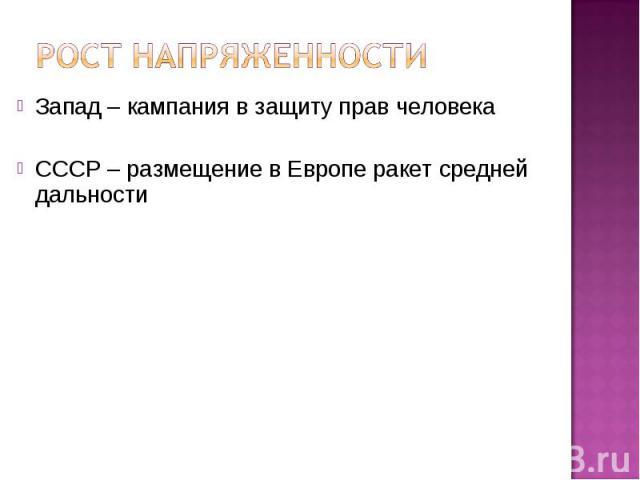 Запад – кампания в защиту прав человека Запад – кампания в защиту прав человека СССР – размещение в Европе ракет средней дальности