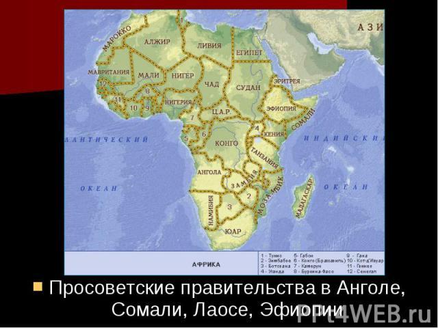 Просоветские правительства в Анголе, Сомали, Лаосе, Эфиопии Просоветские правительства в Анголе, Сомали, Лаосе, Эфиопии