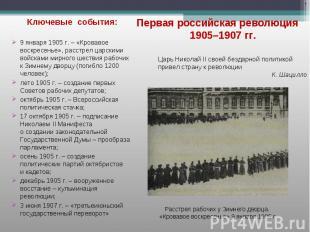Ключевые события: Ключевые события: 9 января 1905 г. – «Кровавое воскресенье», р