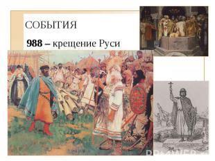 СОБЫТИЯ 988 – крещение Руси - осада Владимиром Херсонеса (Корсунь, Корсуньская л