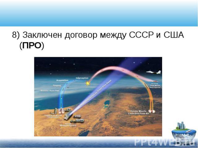 8) Заключен договор между СССР и США (ПРО) 8) Заключен договор между СССР и США (ПРО)