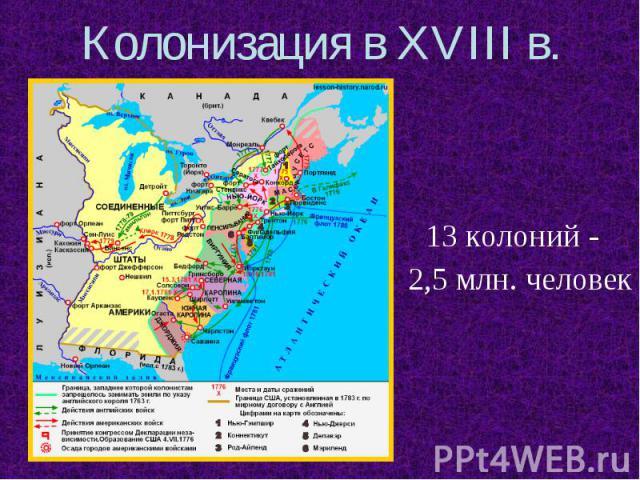 Колонизация в XVIII в.