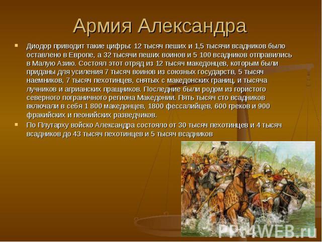Диодор приводит такие цифры: 12 тысяч пеших и 1,5 тысячи всадников было оставлено в Европе, а 32 тысячи пеших воинов и 5 100 всадников отправились в Малую Азию. Состоял этот отряд из 12 тысяч македонцев, которым были приданы для усиления 7 тысяч вои…
