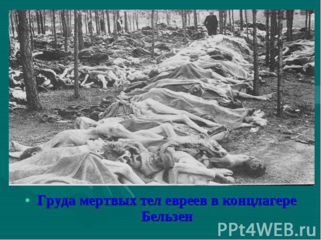 Груда мертвых тел евреев в концлагере Бельзен Груда мертвых тел евреев в концлагере Бельзен