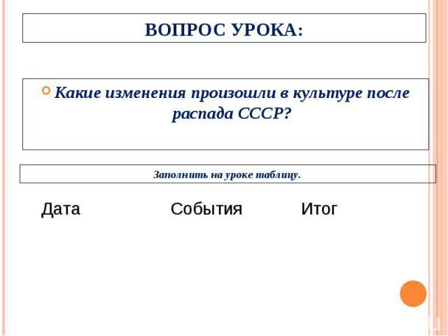 Какие изменения произошли в культуре после распада СССР? Какие изменения произошли в культуре после распада СССР?