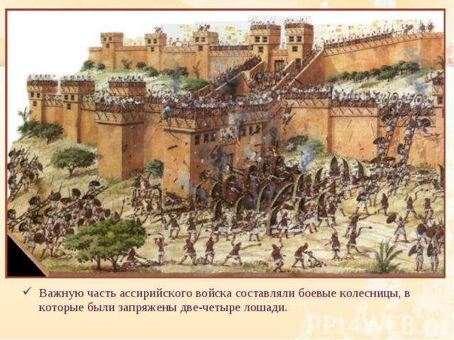Важную часть ассирийского войска составляли боевые колесницы, в которые были запряжены две-четыре лошади. Важную часть ассирийского войска составляли боевые колесницы, в которые были запряжены две-четыре лошади.