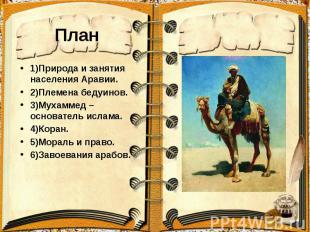 План 1)Природа и занятия населения Аравии. 2)Племена бедуинов. 3)Мухаммед –основ