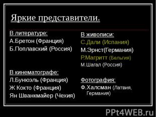 В литературе: В литературе: А.Бретон (Франция) Б.Поплавский (Россия) В кинематог