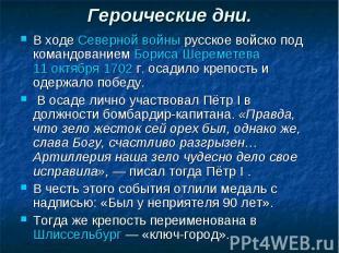 Героические дни. В ходе Северной войны русское войско под командованием Бориса Ш