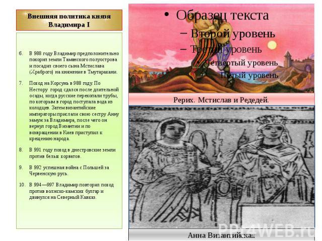 Внешняя политика князя Владимира I В 988 году Владимир предположительно покорил земли Таманского полуострова и посадил своего сына Мстислава (Храброго) на княжение в Тмутаракани. Поход на Корсунь в 988 году. По Нестору город сдался после длительной …