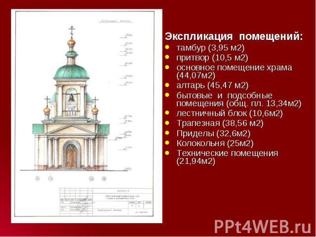 Экспликация помещений: Экспликация помещений: тамбур (3,95 м2) притвор (10,5 м2) основное помещение храма (44,07м2) алтарь (45,47 м2) бытовые и подсобные помещения (общ. пл. 13,34м2) лестничный блок (10,6м2) Трапезная (…