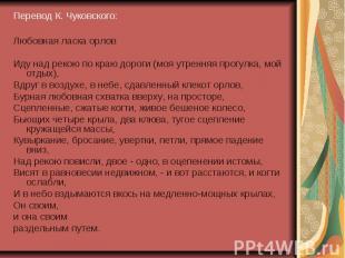 Перевод К. Чуковского: Перевод К. Чуковского: Любовная ласка орлов Иду над рекою