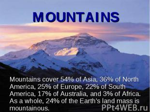 Mountains cover 54% of Asia, 36% of North America, 25% of Europe, 22% of South A