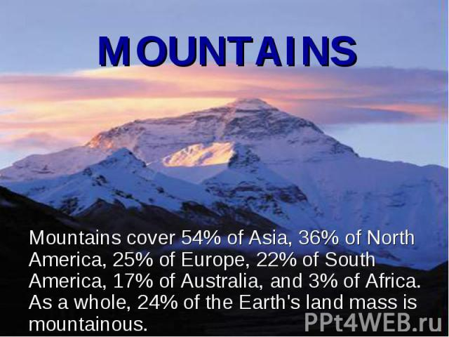 Mountains cover 54% of Asia, 36% of North America, 25% of Europe, 22% of South America, 17% of Australia, and 3% of Africa. As a whole, 24% of the Earth's land mass is mountainous. Mountains cover 54% of Asia, 36% of North America, 25% of Europe, 22…