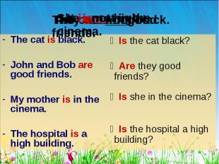 The cat is black. The cat is black. John and Bob are good friends. My mother is