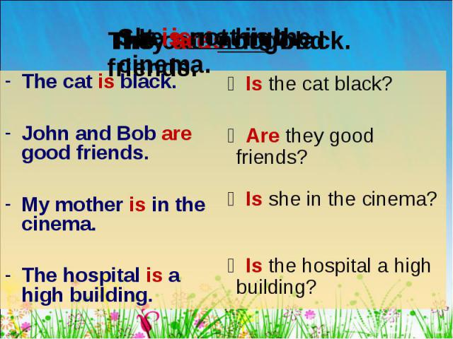 The cat is black. The cat is black. John and Bob are good friends. My mother is in the cinema. The hospital is a high building.
