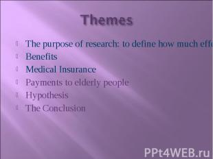 The purpose of research: to define how much effectively state of general welfare