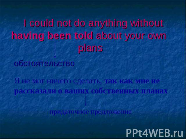 I could not do anything without having been told about your own plans обстоятельство