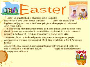 Easter is a grand festival of Christians and is celebrated to honor the resurrec