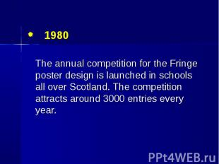 1980 1980 The annual competition for the Fringe poster design is launched in sch