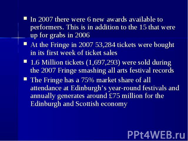 In 2007 there were 6 new awards available to performers. This is in addition to the 15 that were up for grabs in 2006  In 2007 there were 6 new awards available to performers. This is in addition to the 15 that were up for grabs in 20…