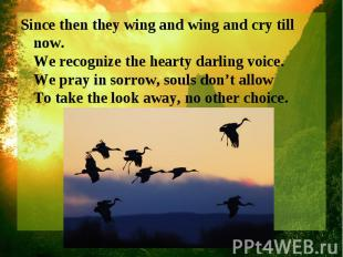 Since then they wing and wing and cry till now. We recognize the hearty darling
