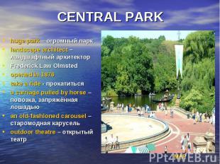 CENTRAL PARK huge park – огромный парк landscape architect – ландшафтный архитек