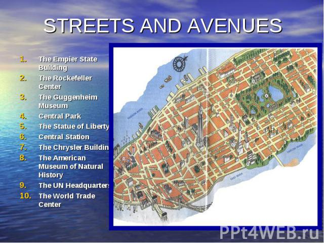 STREETS AND AVENUES The Empier State Building The Rockefeller Center The Guggenheim Museum Central Park The Statue of Liberty Central Station The Chrysler Building The American Museum of Natural History The UN Headquarters The World Trade Center