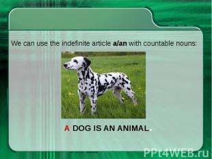 We can use the indefinite article a/an with countable nouns: We can use the inde