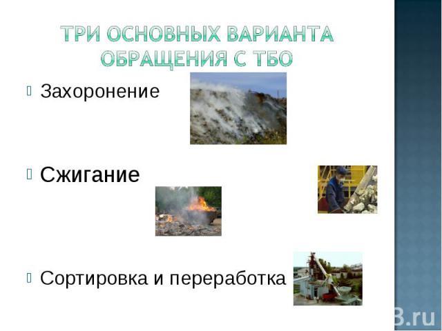 Захоронение Захоронение Сжигание Сортировка и переработка
