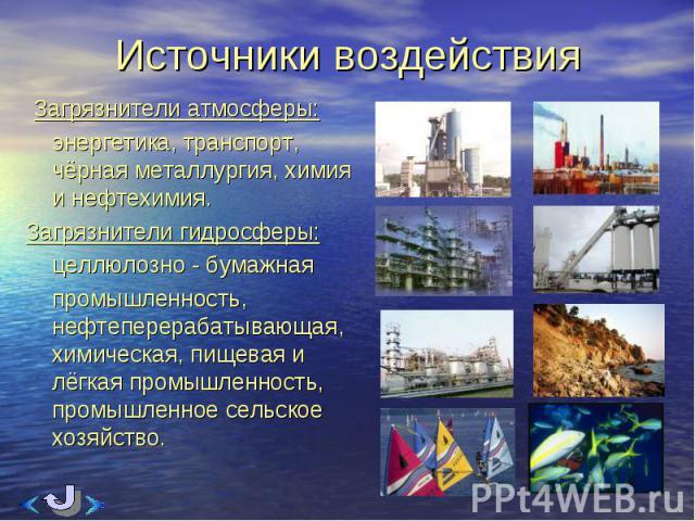 Загрязнители атмосферы: Загрязнители атмосферы: энергетика, транспорт, чёрная металлургия, химия и нефтехимия. Загрязнители гидросферы: целлюлозно - бумажная промышленность, нефтеперерабатывающая, химическая, пищевая и лёгкая промышленность, промышл…