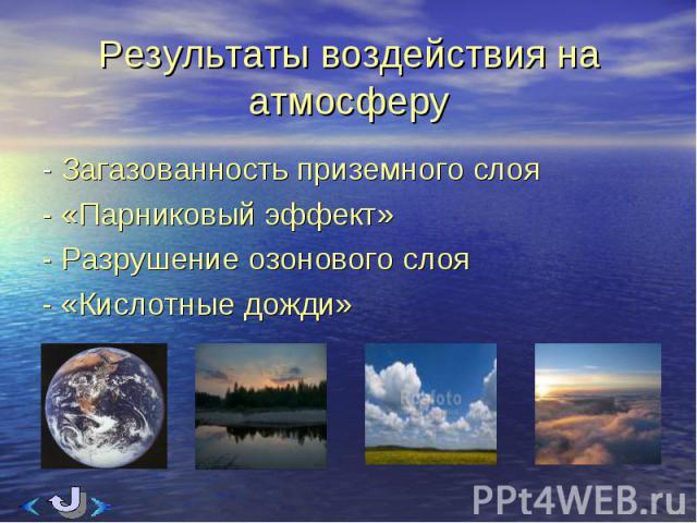 - Загазованность приземного слоя - Загазованность приземного слоя - «Парниковый эффект» - Разрушение озонового слоя - «Кислотные дожди»
