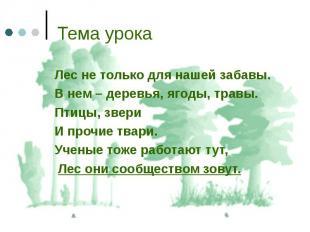 Лес не только для нашей забавы. Лес не только для нашей забавы. В нем – деревья,
