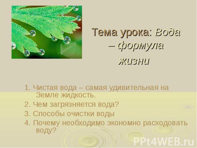 Тема урока: Вода – формула жизни 1. Чистая вода – самая удивительная на Земле жидкость. 2. Чем загрязняется вода? 3. Способы очистки воды 4. Почему необходимо экономно расходовать воду?