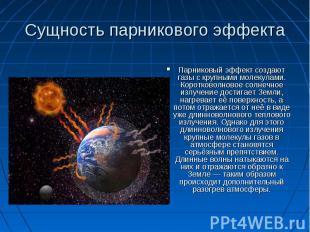 Сущность парникового эффекта Парниковый эффект создают газы с крупными молекулам